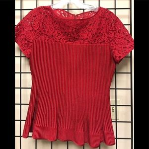 St a John knit with lace short sleeve